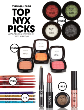 NYX cosmetics sale on Hautelook